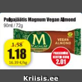 Allahindlus - Pulgajäätis Magnum Vegan Almond