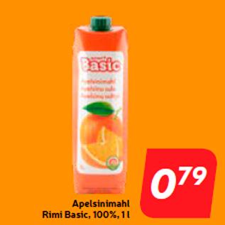 Allahindlus - Apelsinimahl Rimi Basic, 100%, 1 l