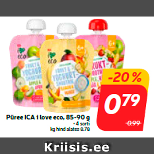 Allahindlus - Püree ICA i love eco, 85-90 g