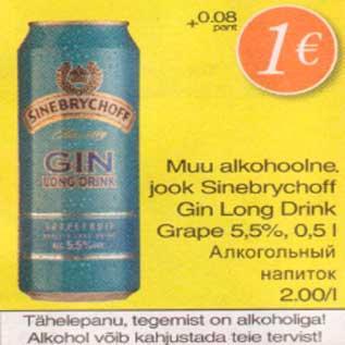 Allahindlus - Muu alkohoolne jook Sinebrychoff Gin Long Drink Grape