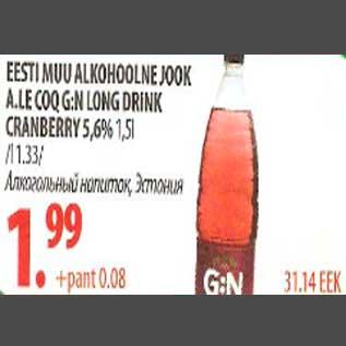Allahindlus - Eesti muu alkohoolne jook A.Le Coq GN Long Drink Cranberry