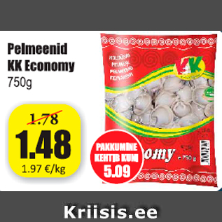 Allahindlus - Pelmeenid KK Economy 750 g