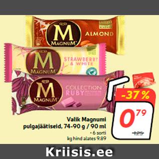 Allahindlus - Valik Magnumi pulgajäätiseid, 74-90 g / 90 ml