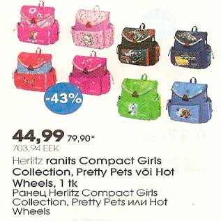 6b1cfb6e1fd Allahindlus - Herlitz ranits Compact Girls Collection, Pretty Pets või Hot  Wheels