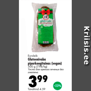 Allahindlus - Euroleib Gluteenivaba piparkoogitainas (vegan) 500 g