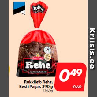 Allahindlus - Rukkileib Rehe, Eesti Pagar, 390 g