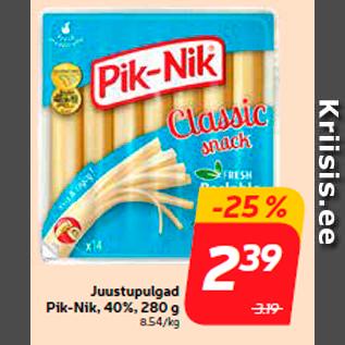 Allahindlus - Juustupulgad Pik-Nik, 40%, 280 g