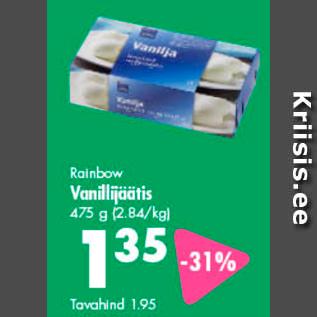 Allahindlus - Rainbow Vanillijäätis 475 g
