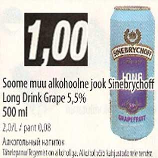 Allahindlus - Soome muu alkohoolne jook Sinebrychoff Long Drink Grape