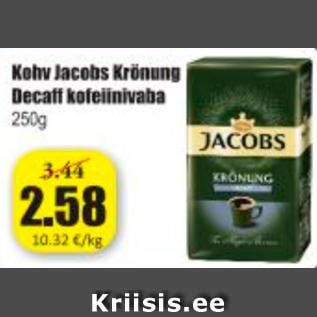 Allahindlus - Kohv Jacobs Krönung Decaff kofeiinivaba 250 g