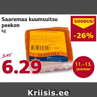 Allahindlus - Saaremaa kuumsuitsu  peekon  kg
