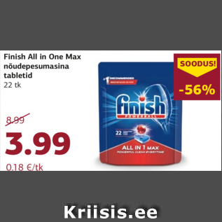 Allahindlus - Finish All in One Max nõudepesumasina tabletid