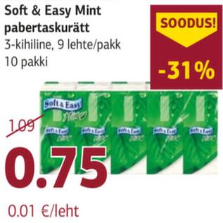 Allahindlus - Soft & Easy Mint pabertaskurätt