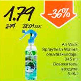 Allahindlus - Air Wick Sprayfresh Waters õhuvärskendaja