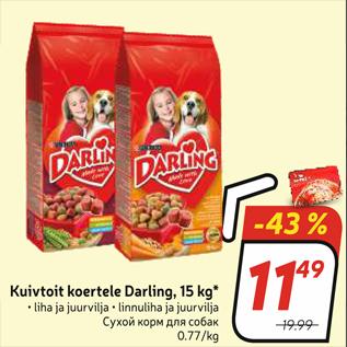 Allahindlus - Kuivtoit koertele Darling, 15 kg*