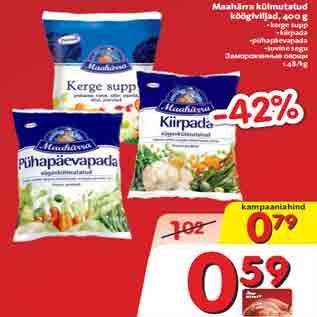 Allahindlus - Maahärra külmutatud köögiviljad, 400 g •kerge supp •kiirpada •pühapäevapada •suvine segu