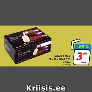 Allahindlus - Jäätis ICA Mini Mix, 12 x 50 ml / 12