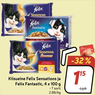 Allahindlus - Kiisueine Felix Sensations ja Felix Fantastic, 4 x 100 g