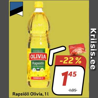 Allahindlus - 3.98/kg Rapsiõli Olivia, 1 l