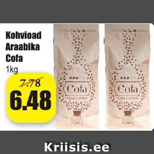 Allahindlus - Kohvioad Araabika Cofa 1 kg