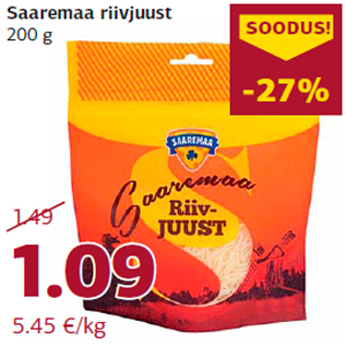 Allahindlus - Saaremaa riivjuust 200 g