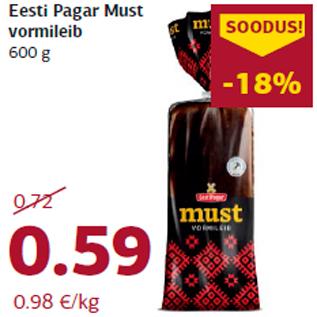 Allahindlus - Eesti Pagar Must vormileib 600 g