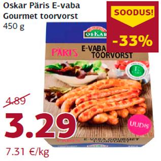 Allahindlus - Oskar Päris E-vaba Gourmet toorvorst 450 g