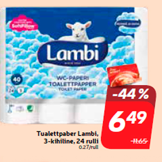 Allahindlus - Tualettpaber Lambi, 3-kihiline, 24 rulli