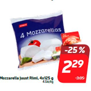Allahindlus - Mozzarella juust Rimi, 4x125 g
