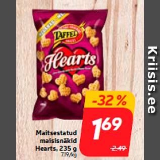 Allahindlus - Maitsestatud maisisnäkid Hearts, 235 g