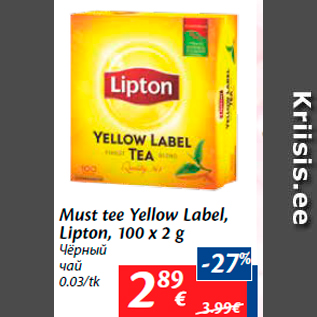 Allahindlus - Must tee Yellow Label, Lipton, 100 x 2 g