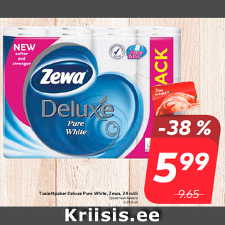 Allahindlus - Tualettpaber Deluxe Pure White, Zewa, 24 rulli