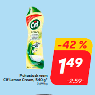 Allahindlus - Puhastuskreem Cif Lemon Cream, 540 g*
