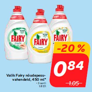 Allahindlus - Valik Fairy nõudepesuvahendeid, 450 ml*