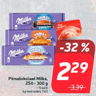 Allahindlus - Piimašokolaad Milka, 250 - 300 g