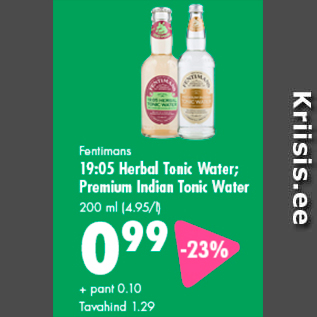 Allahindlus - Fentimans 19:05 Herbal Tonic Water; Premium Indian Tonic Water 200 ml