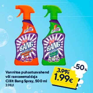 Allahindlus - Vannitoa puhastusvahend või rasvaeemaldaja Cillit Bang Spray, 500 ml