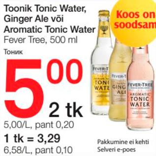 Allahindlus - Toonik Tonic Water, Ginger Ale või Aromatic Tonic Water