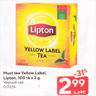 Allahindlus - Must tee Yellow Label, Lipton