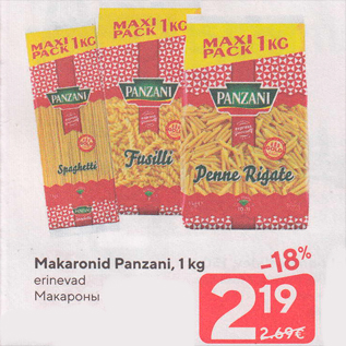 Allahindlus - Makaronid Panzani, 1 kg