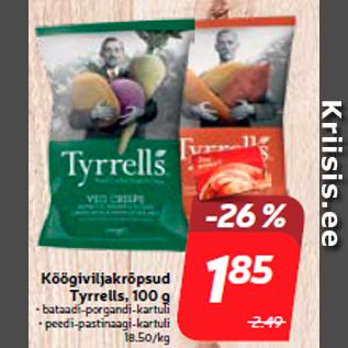 Allahindlus - Köögiviljakrõpsud Tyrrells, 100 g