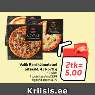 Allahindlus - Valik Rimi külmutatud pitsasid, 431-570 g