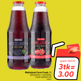Allahindlus - Mahlajook Farm Fresh, 1 l