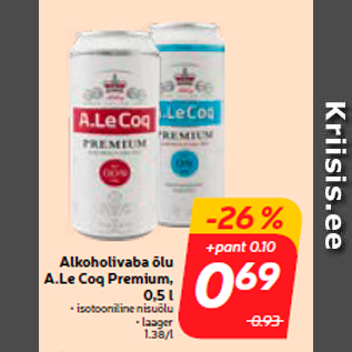 Allahindlus - Alkoholivaba õlu A.Le Coq Premium, 0,5 l