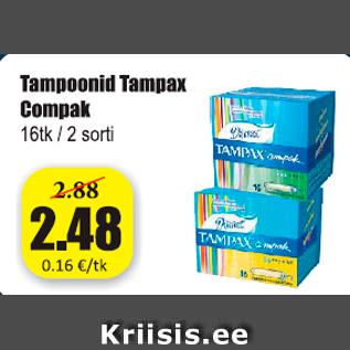 Allahindlus - Tampoonid Tampax Compak