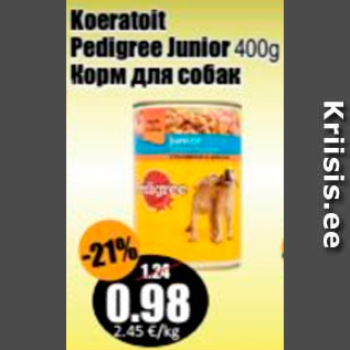 Allahindlus - Koeratoit Pedigree Junior 400 g