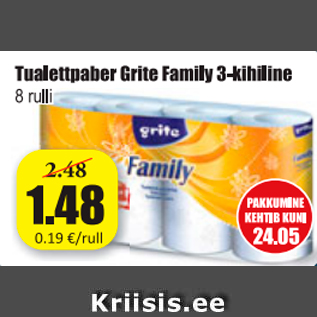 Allahindlus - Tualettpaber Grite family 3-kihiline