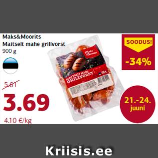 Allahindlus - Maks&Moorits Maitselt mahe grillvorst 900 g