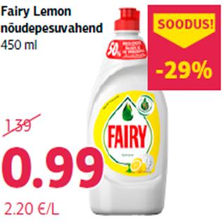 Allahindlus - Fairy Lemon nõudepesuvahend 450 ml