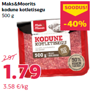 Allahindlus - Maks&Moorits kodune kotletisegu 500 g